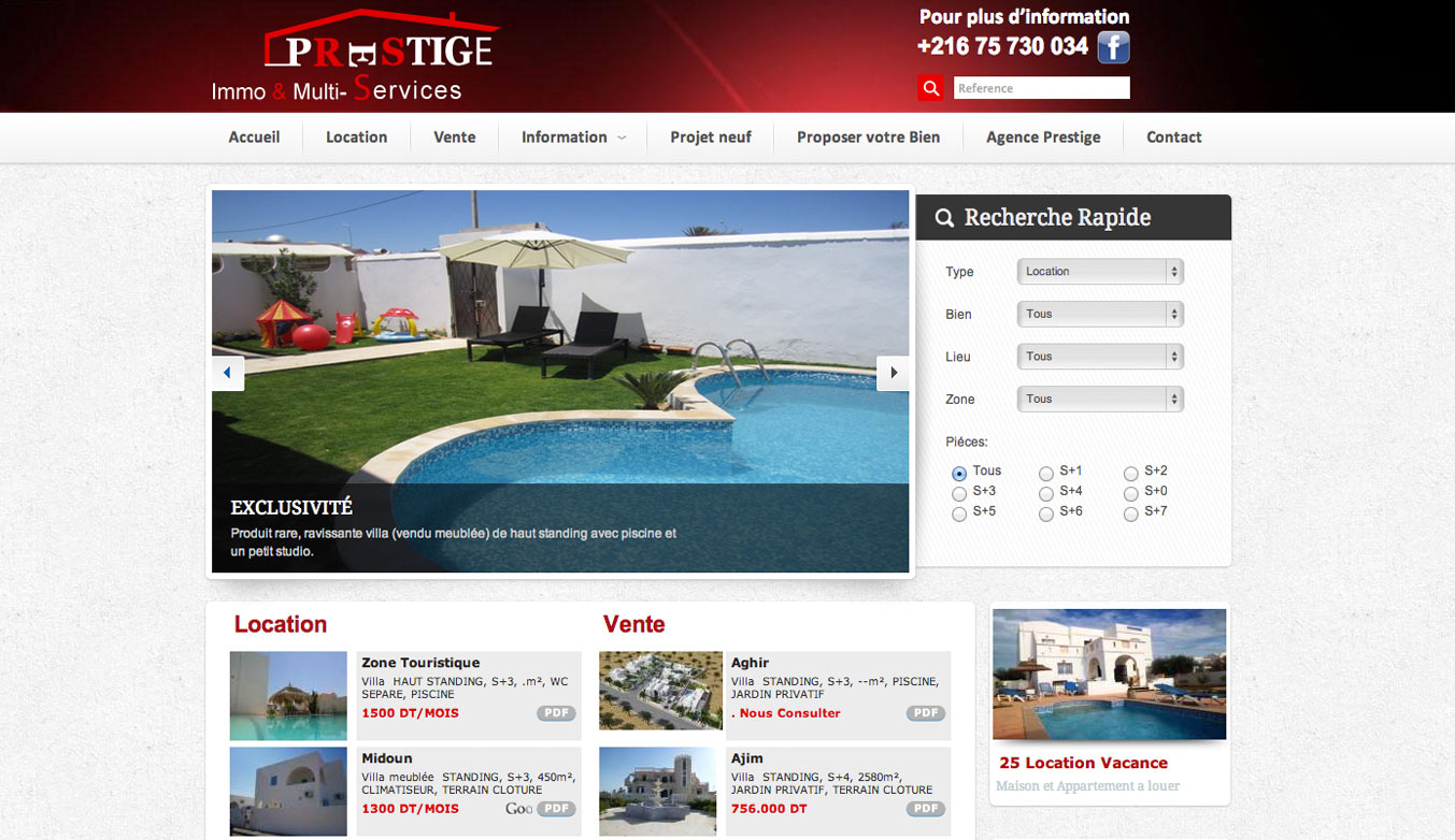 Prestige immo cr ation site web agence immobili re for Agence immo prestige
